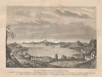 A8909 Napoli - Veduta Monte Nuovo e Golfo di Baja - 1895 xilografia - Engraving