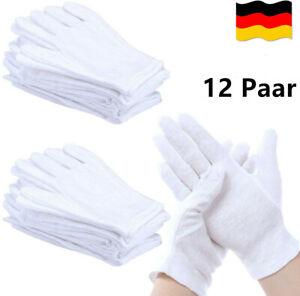 12 Paar Weiße Handschuhe Baumwolle, Stoff Handschuhe Weiss, Baumwollhandschuhe