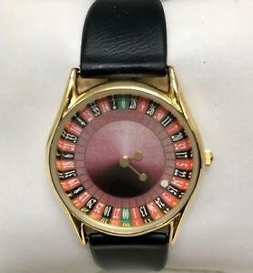 Whimsical Casino Roulette Wheel Unisex Black Strap Watch Seconds Hand LAST ONE!