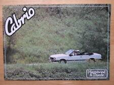 OPEL ASCONA CABRIO 1980s Hammond & Thiede Leaflet Brochure Cabriolet Convertible