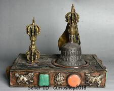 """11.6"""" Antique Old Tibet Buddhism Temple bronze Silver Dorje Vajra Bell & Holder"""