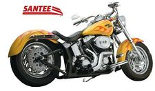 "SANTEE 2"" CHROME BOA EXHAUST PIPES WITH HEAT SHIELDS HARLEY SOFTAIL 2007-2011"
