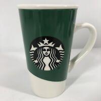 Starbucks Tall Green Siren Logo Mermaid Green White Coffee Mug Cup 16 oz