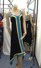 Joseph Ribkoff Nuevo con etiquetas 10 exquisito vestido negro asimétrico + Vivos Turquesa y Amarillo