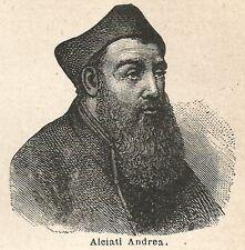 A6566 Alciati Andrea - Stampa Antica del 1924 - Xilografia