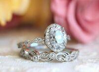 2.50 ct Oval Cut Diamond 14K White Gold Over Halo Engagement Wedding Ring Set