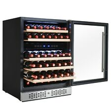 46 Bottle Dual Zone Compressor Adjustable Touch Control Wine Cooler Refrigerator