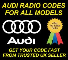 AUDI RADIO CODE UNLOCK CODE FOR RADIO CONCERT SYMPHONY RNS-D CHORUS ALL MODELS