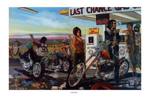 Dave Mann Ed Roth Studios Print Poster Bike Chopper Gas Stop