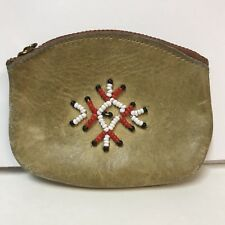 VTG Yosemite National Park Coin Purse Souvenir Leather Zippered Beaded Red White