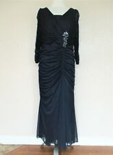 """Adrianna Papell Evening Gown Dress 14W Women blue mesh shirred ruched """"jewel"""""""