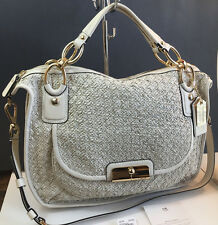 COACH KRISTIN WOVEN LEATHER SAGE 16776 ROUND SATCHEL ~VERY RARE WHITE MIST!! $1K