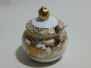 Noritake mustard condiment pot with lid and stainless steel server. 1st Quality