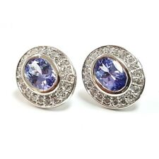 Special Deal - 2.00Ct Tanzanite & Diamond Halo Earrings in 18k White Gold
