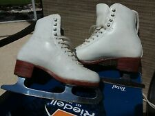 Riedell F 355 Ice Figure Skates White size 4A Sheffield Blade Womens