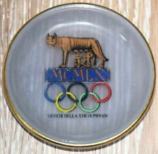 1960 Olympic Games Rome Original Antique Glass Coaster with Olympic Logo RARE!!!