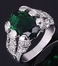 Emerald 18K Gold Filled Engagement Rings Mens Fashion Size 8 Jewelry Emerald Cut
