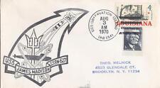 US Ship Cancel Naval Cover Sub USS James Madison SSBN-627 Lg black cachet 1970