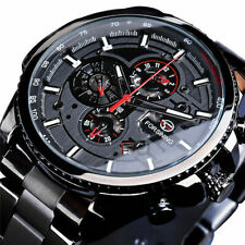 Automatik Multifunktion Herren Armband Uhr Schwarz Edelstahl Armband Datum