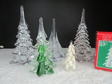 "New ListingSilvestri Solid Glass Christmas Trees, Lot Of 5, 6 1/2""-9"", Ornament, Euc"