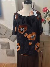 Laura Ashley Black With Velvet Flowers Top Size-12 £50 New With Tags (D1)