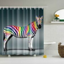 Zebra Animal Fabric Waterproof Bathroom Shower Curtain With Hooks