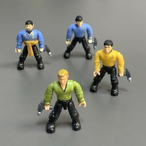 LOT 4 Red Mega Construx Blocks Heroes Star Trek CAPTAIN KIRK FIGURES SPOCK & Gun