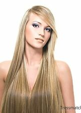 Remy Human Hair Clip in Extensions Brown Blonde Highlights Full Head