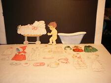 Vtg Paper Doll, Unknow Set #1, 1940's, 1 Doll + Carriage + Bath + 20 Cutouts