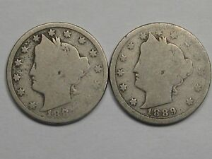2 Better-Date US Liberty V Nickels: 1887 & 1889. #19