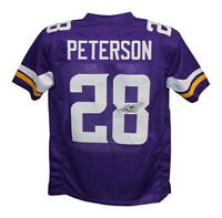 Adrian Peterson Autographed/Signed Pro Style Purple XL Jersey BAS 29345