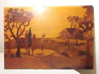 antique 19th century inlaid marquetry hunting scene wood wall sculpture art 1800