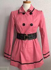Candies Pea-coat Rain Trench Coat Juniors Pink Black Trim Cotton Size Med New