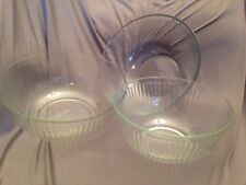 SET of 3 Vintage Pyrex Clear Glass Stacking Ribbed Mixing Bowls 7403-S 7404-S
