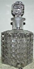 """Antique Thousand Eye Optic Glass Square 7 1/2"""" Decanter - Ground Stopper, Pontil"""
