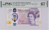 Great Britain 20 POUNDS ND 2020 P 396 QE II CA69 Superb GEM UNC PMG 67 EPQ