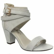 New Women's Open Toe Ankle Cuff Buckled Strap Sandal Shoes Chunky Med High Heel
