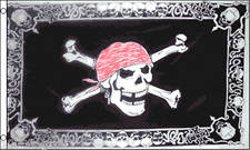 Pirate Jolly Roger Skull and Crossbones Red Bandana & Skull Border 5'x3' Flag !