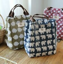 Canvas Bear Bag Cooler Bento Picnic Pouch Lunch Container Mamas Pattern Ice New