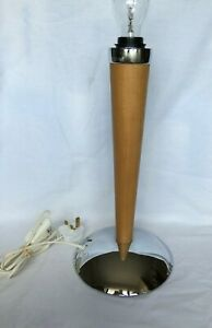 LIGHT WOOD WITH CHROME BASE LAMP 40CM HIGH LONG POWER CORD WITH INLINE SWITCH