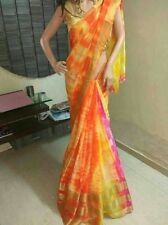 Multi Color Shibori Designer Party Wear, Bollywood Designer georgette saree.
