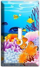 TROPICAL SEA EXOTIC CORAL AQUARIUM CLOWN FISH SINGLE LIGHT SWITCH PLATE COVER