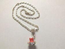collier chaine argenté 41,5 cm avec pendentif robe rouge 18x12 mm