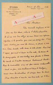 ♦ L.A.S 1934 Henri du PASSAGE père jésuite théologien écrivain Bezencourt lettre
