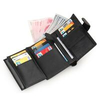 Men's Genuine Leather Clutch Wallet ID Bifold Business Credit Card Holder Purse