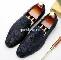 Round toes embroidery luxury mens formal shoes T show shoes casual loafers us Sz