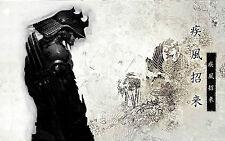 Incorniciato stampa-SAMURAI GUERRIERO sui tradizionali Oriental sfondo (immagine Art)