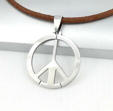 Silver Hippie Hippy Retro Peace Sign Pendant Brown Leather Choker Necklace