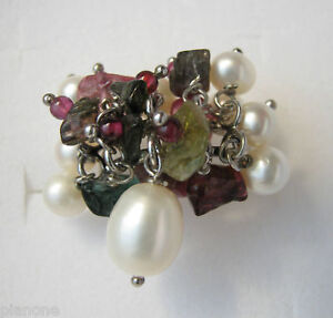 Freshwater Pearl and Gemstone Ring Sterling Silver .925