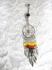 LONG BEADED BLACK RED YELLOW CLEAR 9 TASSLE DREAMCATCHER BELLY BUTTON RING